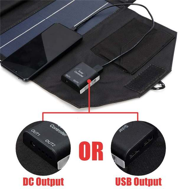 Portable 50W 12V Solar Panel Dual USB Folding Waterproof Charger Mobile Power Bank for Phone Battery Port for outdoor activitie 4