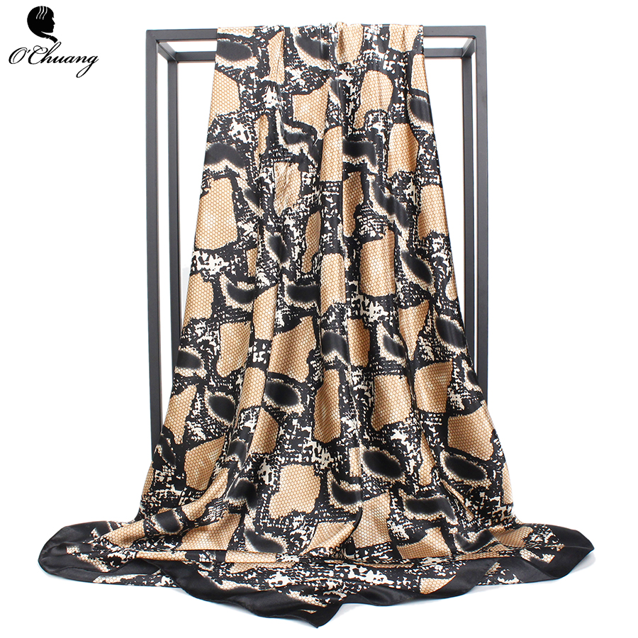 O CHUANG Women Silk Scarf Luxury Brand Snake Print Satin Square Head Scarves 90*90cm Winter Foulard Fashion Ladies Black Shawl