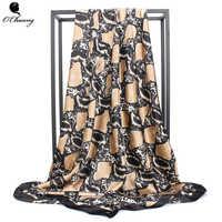 O CHUANG Women Silk Scarf Luxury Brand Snake Print Satin Square Head Scarves 90*90cm Winter Foulard Fashion Ladies Black Shawl