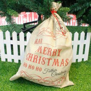 Image 2 - Big Size Merry Christmas Linen Gift Bag 2019 Santa Claus Sacks Drawstring Candy Bag Natal Noel New Year Xmas Home Decor Gift Bag