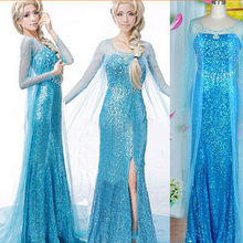 Лидер продаж Эльза queen взрослых женское платье костюм Косплэй цветами нарядное Вечерние платья Vestido синий сексуальная женская одежда