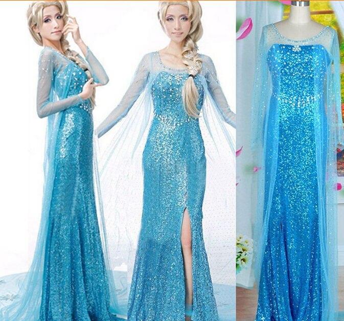 Sıcak satış Elsa kraliçe yetişkin kadın elbise kostüm Cosplay çiçekli fantezi parti cüppeli elbiseler Vestido mavi seksi kadın giyim