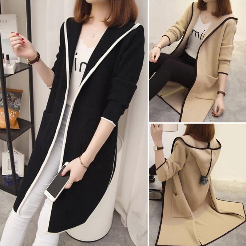 Fashion Women Autumn Loose Long Sleeve Hooded Long   Coat   Cardigan Outwear