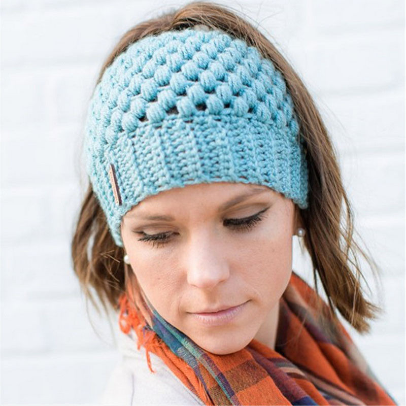 cd9f8e97d US $4.23 17% OFF|Winter Warm Holes Hats For Women Ponytail Beanie Hat  Female Messy Bun Stretch Crochet Ponytail Fashion Cap Women-in Skullies &  ...