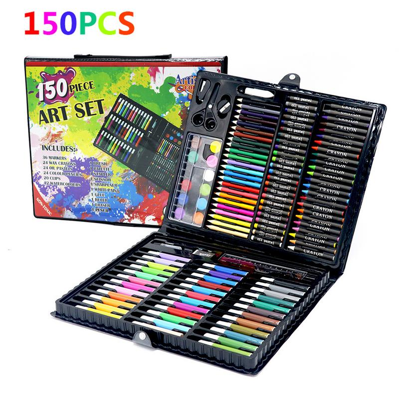 150pcs/set Painting Pencil Water Colored Marker Pen Crayon Oil Pastel Sketching Paint Brush Children Kids Drawing Tool Supplies