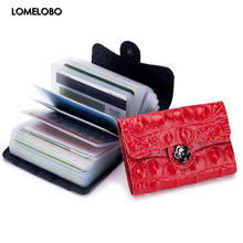 Lomelobo Split Leather Unisex Card Holder Alligator Women credit cards Wallet Men ID Card Purse Ladies Fashion Bank Cards Wallet(China)