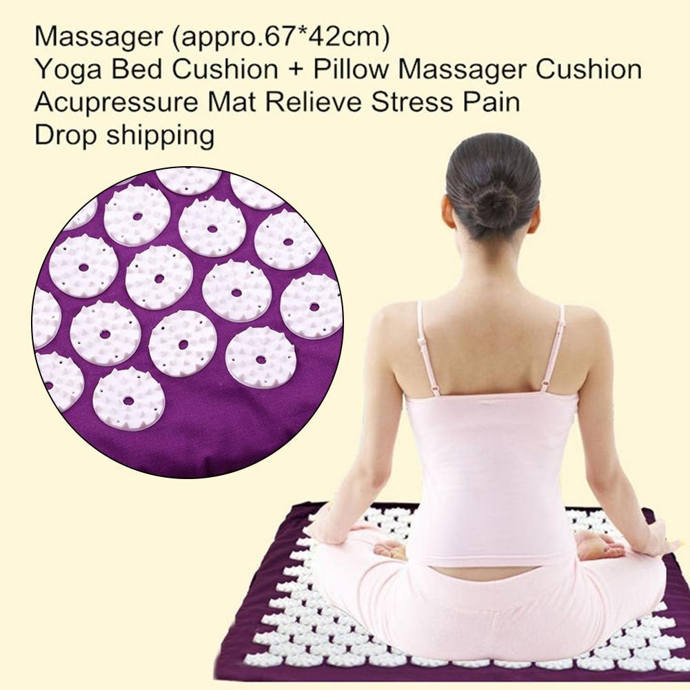 Stress Releasing Acupressure Massage Mat and Pillow Set for Yoga and Exercise 4