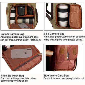 Camera Bag Batik Canvas Waterproof Photography Bag Outdoor Wear-resistant Large Camera Photo Lens Backpack for Canon/ Sony/Nikon 6