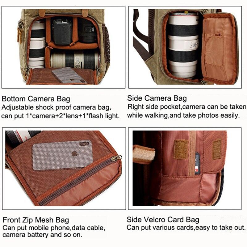 Bolso de la Cámara Batik lona impermeable bolsa de la fotografía al aire libre resistente al desgaste Gran Cámara de la Lente de la foto mochila para Canon/Sony/Nikon - 6