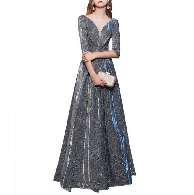 dc876352ae58 Fête Chic Xs Gala xxl Maille Robe Col Longue Gratuating Sexy Élégant Date  Princesse 2019 Femmes ...