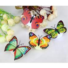 1PC Beautiful Butterfly LED Night Light Lamp Wall Decoration Light Lamp for Christmas Wedding Decoration Night Lamp Wall Pasted(China)