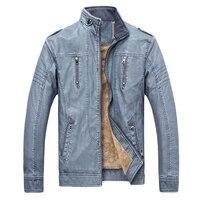 Ретро мотоциклетная мужская кожаная куртка флис весна зима плюс размер XXXL мода ПУ кожа толстое пальто мужской Blue синий коричневый