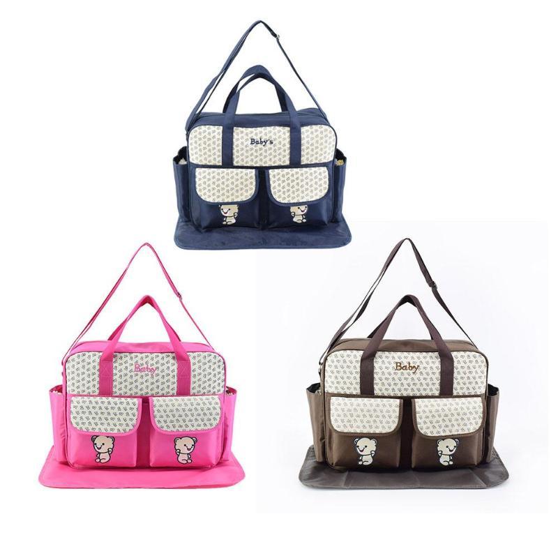 Baby Mommy Diaper Bag Cute Bear Large Capacity Mummy Handbag Convenient Stroller Maternity Nursing Bags Baby Nappy Stroller Bags