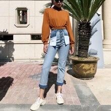 e1420ba1a Jeans reta calças de Brim Das Mulheres de Retalhos Do Vintage Boyfriend  Jeans De Cintura Alta calças de Ganga Casuais Calças Mãe.