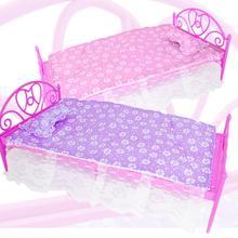 Mini rosa púrpura cama con almohada + ropa de cama casa de muñecas miniaturas dormitorio DIY muebles para Barbie doll de 12 pulgadas de juguete