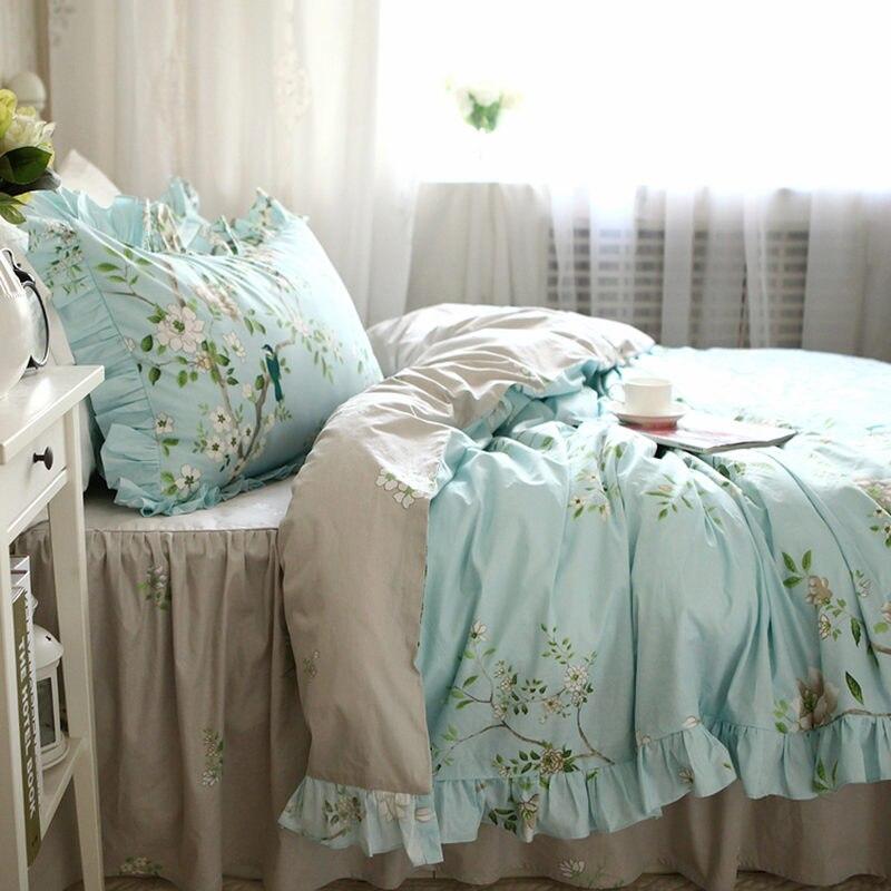 Style américain frais pastorale ensemble de literie à volants arbre avec oiseau housse de couette élégant couvre-lit rides lit draps ensembles de literie - 2