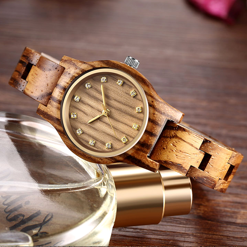 Reloj Femenino New Design Wooden Watch Women Small Gold Pointer Antique Luxury Female Slender Band Watch Lady Gift Drop Shipping(China)