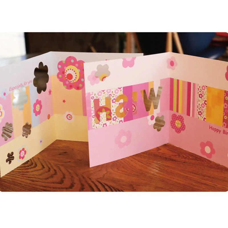 Multicolor Hollow ดอกไม้การ์ดอวยพรสำหรับ Happy Birthday Party Blessing ข้อความโปสการ์ดของขวัญการ์ด EH009
