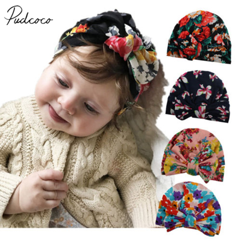 Newborn Floral Bowknot Beanie Hat Infant Comfy Hospital Cap For 0-3 Months Baby