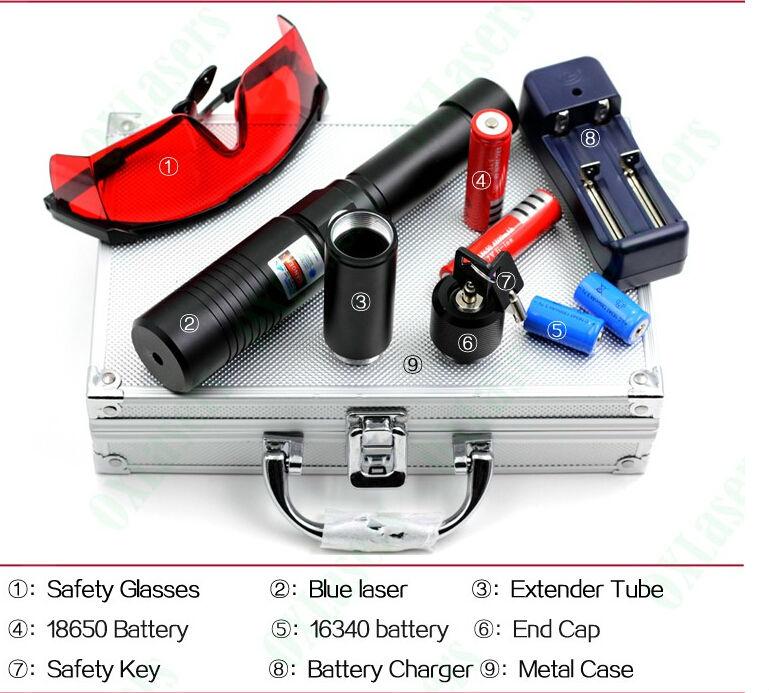 HOT! High Power 500w 5000000m Blue Laser Pointers Sight 450nm Flashlight Burning Match/Burn Light Cigars/candle/black Hunting