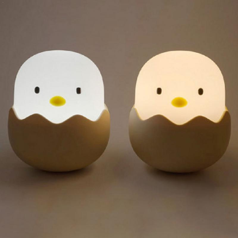 Silicone Chicken Egg Touch Sensor LED Night Light Child Baby Kids USB Charge Romantic Atmosphere Night Lamp