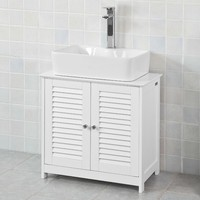 White Under Sink Bathroom Storage Cabinet with Double Shutter Doors SoBuy FRG237 W