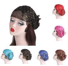 ผู้หญิงลูกไม้หมวกดอกไม้ Bonnet Chemo หมวกมุสลิมหัวพิมพ์ผ้าพันคออิสลามหมวกผมอาหรับ Ramadan Beanies Skullies ใหม่