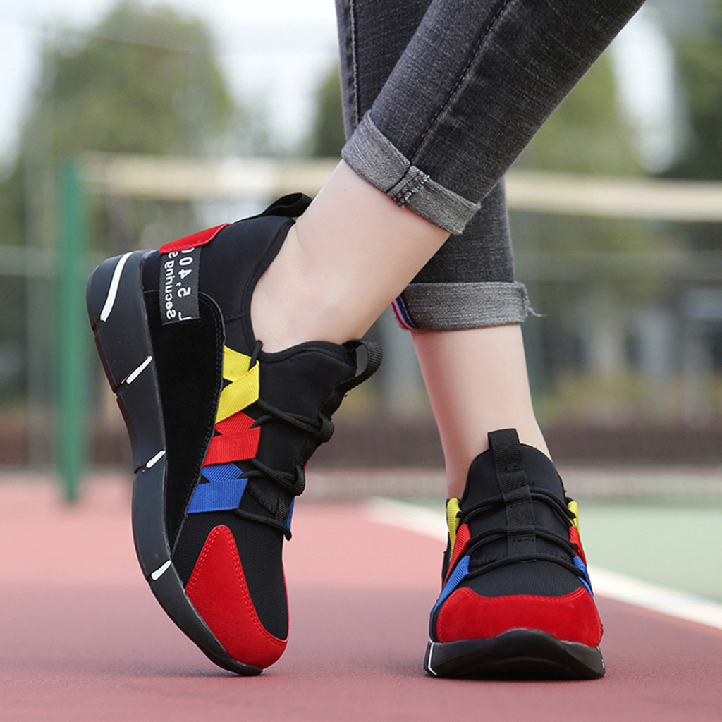 2019 New Woman Chaussures Femme Fashion Casual Trainers Lace Up Breathable Sneakers Sport Running Zapatos De Mujer Sapat #78