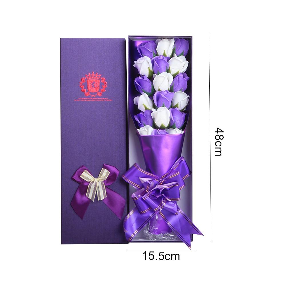 Мыло в Форме Розы 2 цвета межфазный букет роз красивый подарок мыло в коробке Роза романтическое украшение для дома 18 шт