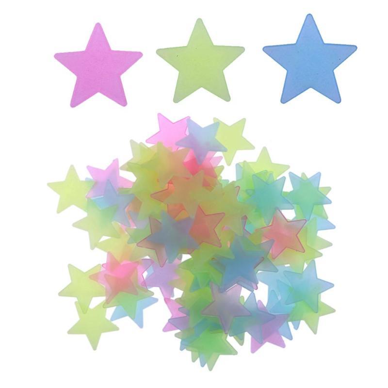 100Pcs/lot 2019 New Luminous Wall Stickers DIY Fluorescent Wall Art Decals Home Decoration For Baby Kids Room 3D Luminous Stars