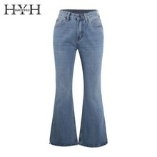 HYH HAOYIHUI Simplicity Sexy  Jeans Slant Trousers Bell-bottoms Commute Broad Leg New Arrival Bottoms Women Blue Pants