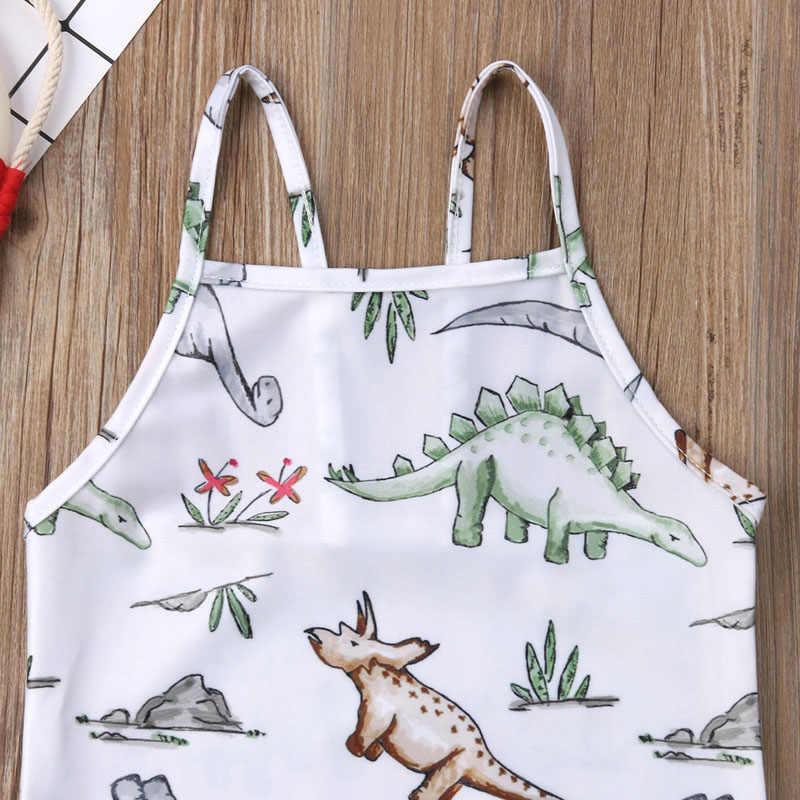 Популярные новые модные купальники для маленьких девочек, комбинезон с динозавром, пляжная одежда 2019, летняя детская одежда для девочек