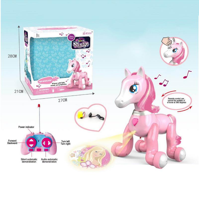 Pony Projection Toy Remote Control Pony With Light Music Touch Sensor Puzzle Remote Control Toy Electric RC Horse Toy
