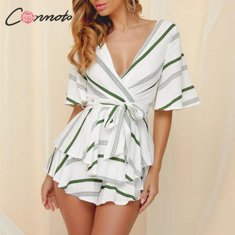 Conmoto Deep V Neck Summer   Jumpsuit   Romper Women Short Pants Backless Lace Up Playsuit Striped Print Casual Romper