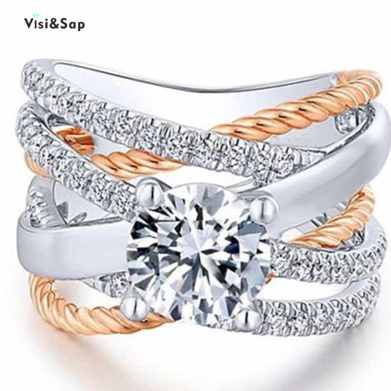 Visisap Twisted เส้นเรขาคณิตแหวน Multicolor GOLD สีแหวนหญิง Dropshipping เครื่องประดับผู้ผลิต H001