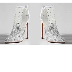 Carole Levy/2019 г. Новый дизайн, Женская белая свадебная обувь с острым носком, украшенная кристаллами, на высоком каблуке, сандалии на высоком