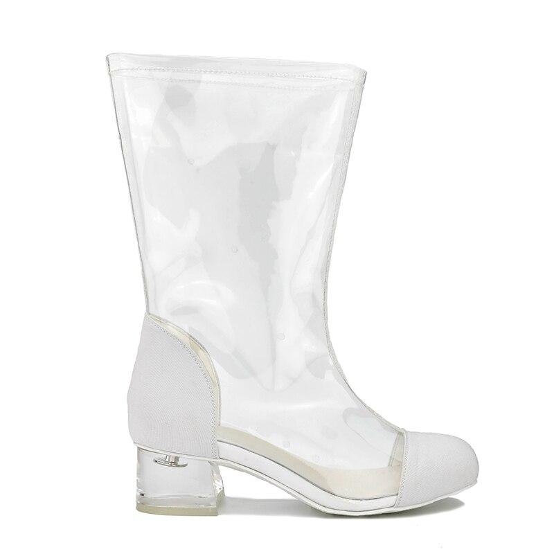 Ferse Schwarzes Plus Mitte Transparent Größe Neue Mode Klar Frauen Sexy Wade 2019 Frühjahr 48 Stiefel Mittleren Partei weiß 40 Multi Große Schuhe vwR0Ax4