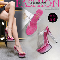 2019 Sexy Crystal Shoe 15cm Bottom Crystal Exceed With Sandals Woman