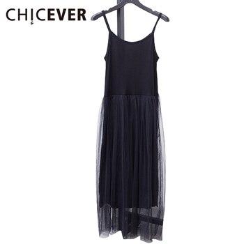 [Chicever] 2017 مثير معطلة الكتف الصيف المرأة اللباس الإناث فضفاضة السباغيتي حزام شبكة ملابس السيدات حزب فساتين جديدة