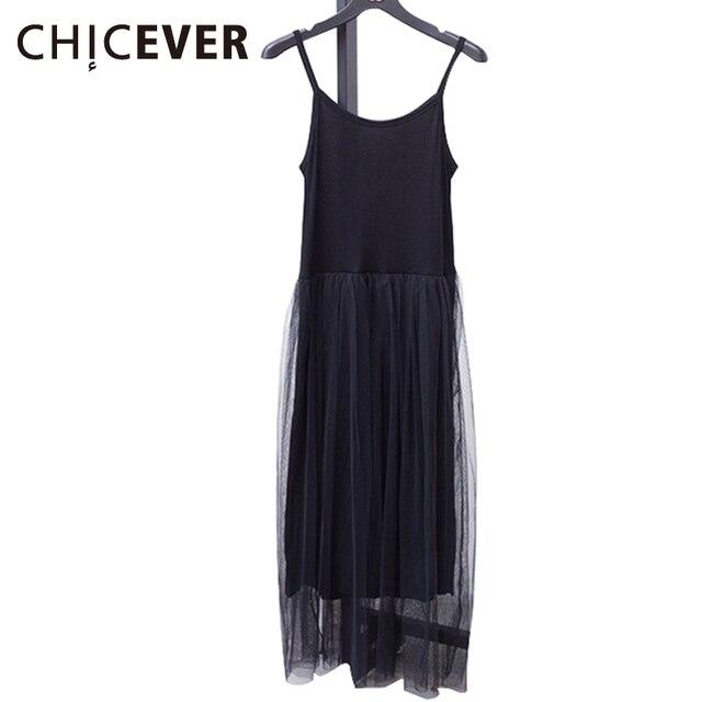 [CHICEVER] 2019 סקסי כבוי כתף קיץ נשים שמלה נקבה Loose ספגטי רצועת רשת גבירותיי המפלגה שמלות חדש בגדים
