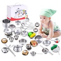 27pcs/set Stainless Steel Kids House Kitchen Toys Cooking Cookware Children Pretend Play Kitchen Playset for dropshipping