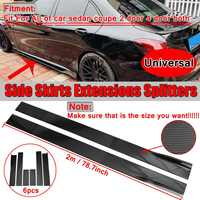 6pcs 2m/2.2m Universal Car Side Skirts Winglet Extensions Splitters Body Apron Lip For BMW For Benz For Audi Carbon Look/Black