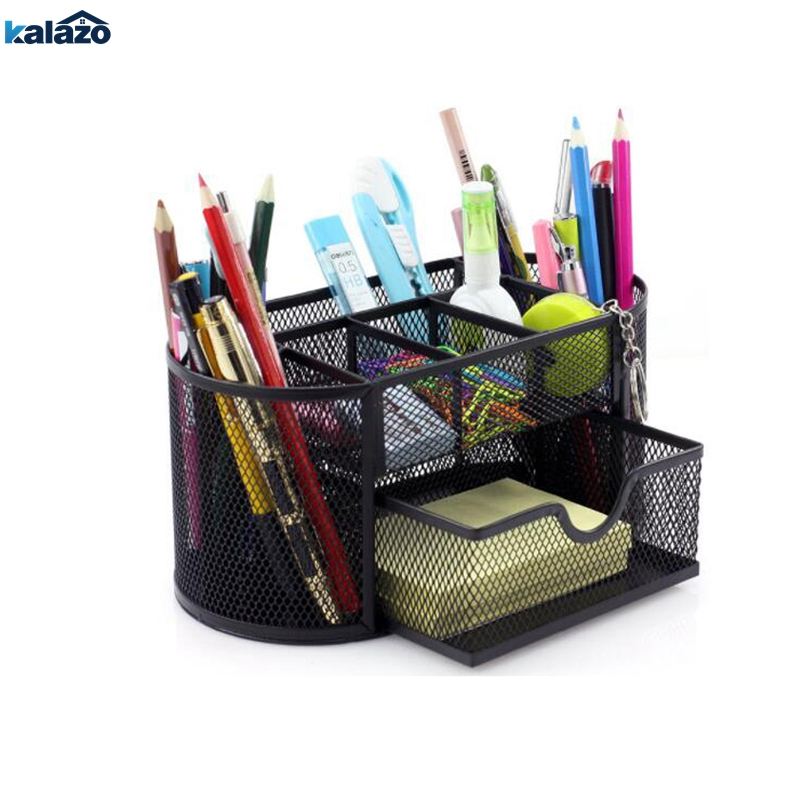 9 Grid Office Storage Box Multi-functional Desk Organizer Mesh Metal Pen Holder Stationery Container School Supplies Caddy Black