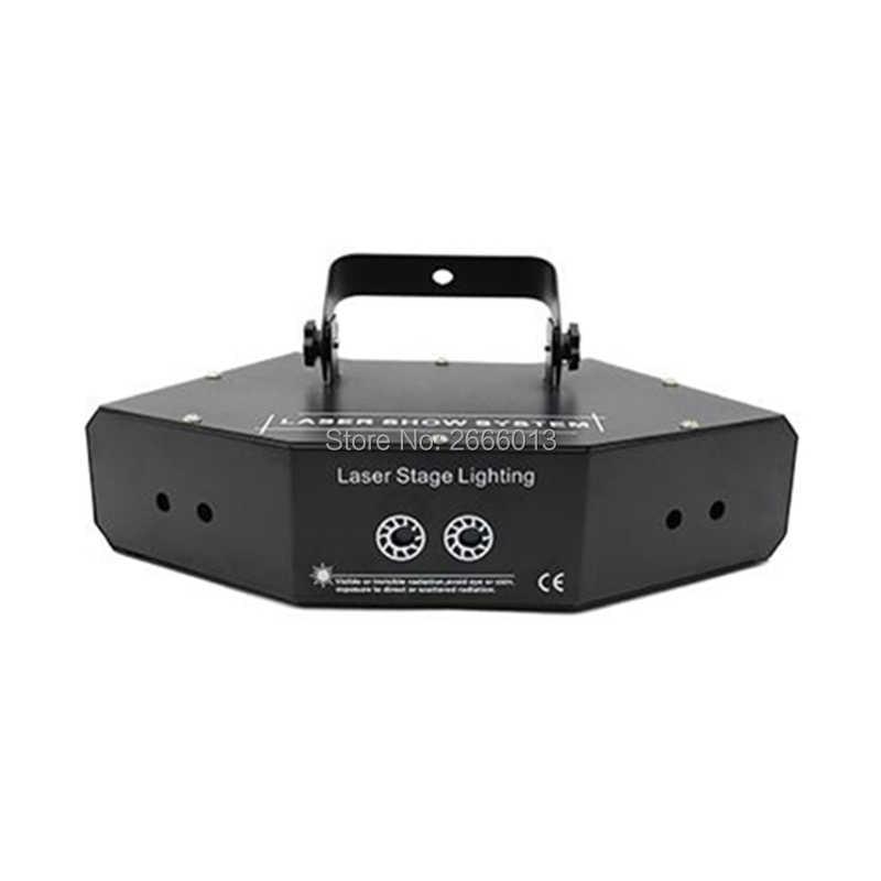 6 Lensa RGB, LASER Gambar Garis Beam Scanner DMX512 DJ Dance Bar Rumah Natal Pesta Disko Panggung Efek Pencahayaan Laser acara Sistem