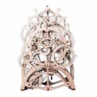 Robotime DIY Gear Drive Pendulum Clock by Clockwork 3D Wooden Model Building Kits Toys Hobbies Gift for Children Adult LK501