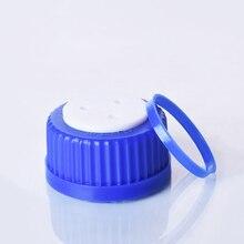 Bouchon fileté bleu à 3 trous, GL 45mm, bouchon à vis en plastique avec anneau de lunette fileté, bouchon de bouteille liquide en phase Mobile