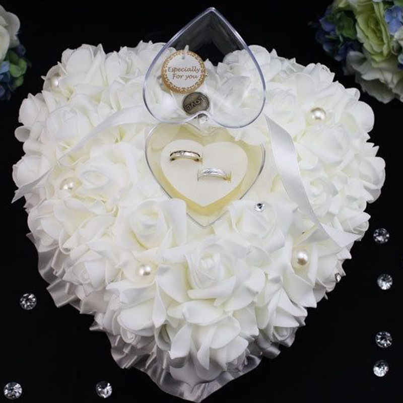 Wedding Decorations Heart-shape Rose Flowers Valentine's Day Gift Ring Bearer Pillow Cushion Pincushion Ring Party Decoration