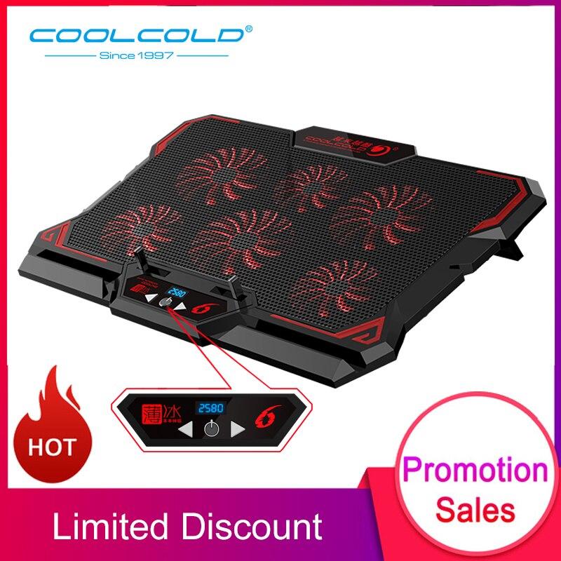COOLCOLD 17 polegada Gaming Laptop Cooler Seis Fã Tela Led Dois Porta USB 2600RPM Notebook Bloco De Resfriamento Laptop Stand para Laptop