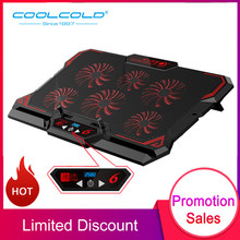 COOLCOLD 17inch Gaming Laptop Cooler Six Fan Led Screen Two USB Port 2600RPM Laptop Cooling Pad Notebook Stand for Laptop(China)
