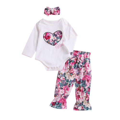 f5973eef7c3 3PCS Newborn Baby Girls Tops Romper Floral Pants Headband Outfits Set  Clothes 0-6M